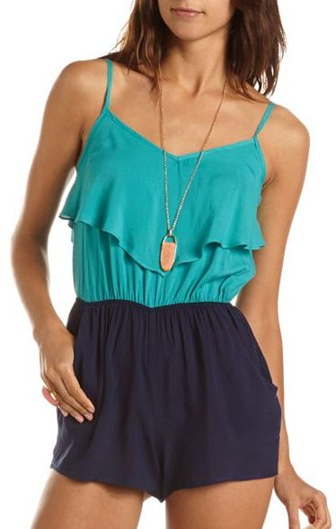 Charlotte Russe Ruffled Color Block Romper