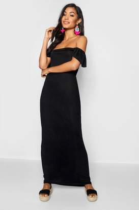 boohoo Ruffle Off The Shoulder Jersey Maxi Dress