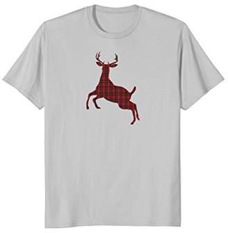 Plaid Reindeer Christmas Holiday Deer Silhouette T Shirt