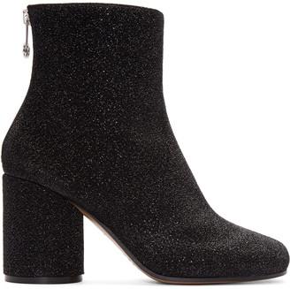 Maison Margiela Black Metallic Textile Boots $875 thestylecure.com