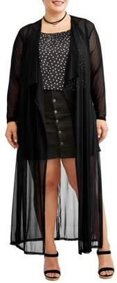 Miss Lili Juniors' Plus Kimono with Jersey Knit Belt