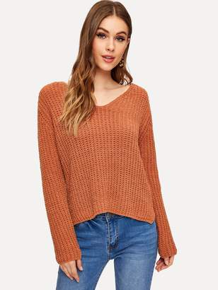 Shein V-neck Stepped Hem Sweater