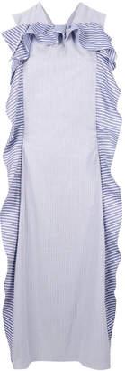 Carven striped sleeveless ruffle midi dress