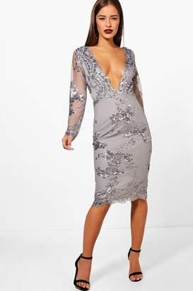 boohoo Petite Lucy Sequin And Mesh Long Sleeve Midi Dress