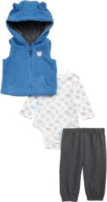 Little Me Bear Hooded Fleece Vest, Bodysuit & Sweatpants Set