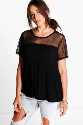 boohoo Plus Kylie Mesh Panel Tee
