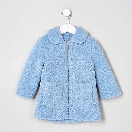 Mini girls Blue shearling faux fur jacket