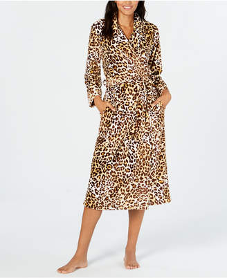 Charter Club Leopard-Print Long Wrap Robe, Created for Macy's