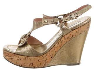 Alaia Metallic Platform Wedge Sandals