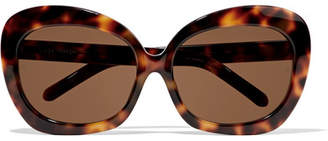 Oversized Square-frame Acetate And Gold Sunglasses - Brown