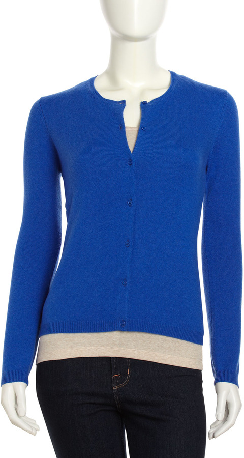 Neiman Marcus Cashmere Long-Sleeve Cardigan, Blue