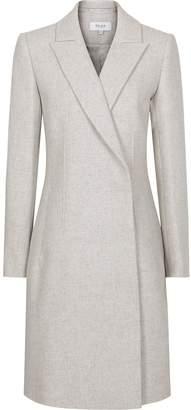 Reiss Santhia - Wool Blend Double Breasted Coat in Grey Melange