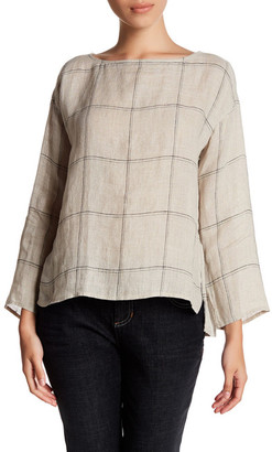 Eileen Fisher Windowpane Plaid Organic Linen Top (Petite) $178 thestylecure.com