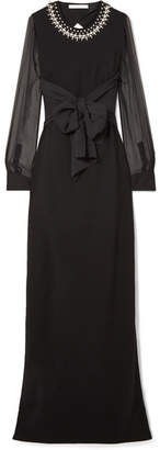 Givenchy Embellished Silk And Tulle-trimmed Stretch-cady Gown - Black