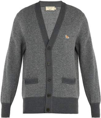 MAISON KITSUNÉ Logo-embroidered wool cardigan