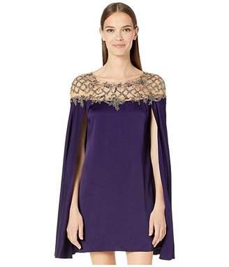 Marchesa Crepe Cape Sleeve Mini Dress w/ Illusion Neck