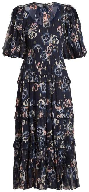 Rebecca Taylor - Floral Print Crepe Midi Dress - Womens - Navy Multi