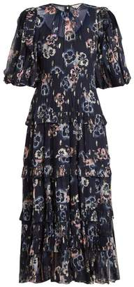Rebecca Taylor Floral Print Crepe Midi Dress - Womens - Navy Multi