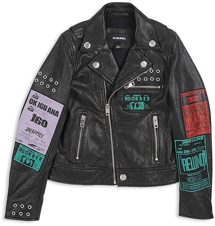 Boys' Tour-Patch Graphic Leather Moto Jacket - Big Kid