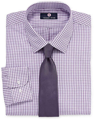 Thomas Laboratories STONE Stone Stone Shirt And Tie Set Big And Tall Mens Point Collar Long Sleeve Shirt + Tie Set