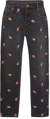 Etoile Isabel Marant Cliffy Embroidered High-Waist Slim-Leg Jeans