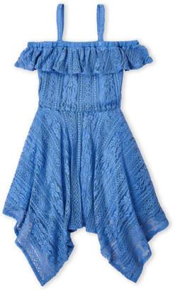 BCBGMAXAZRIA Girls 7-16) Lace Ruffle Cold Shoulder Dress
