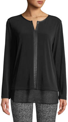 Iconic American Designer Long-Sleeve Jersey Twofer Top w/ Chiffon Trim