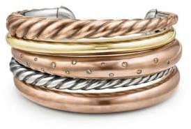 David Yurman Pure Form Mixed Metal& Diamonds Five-Row Cuff