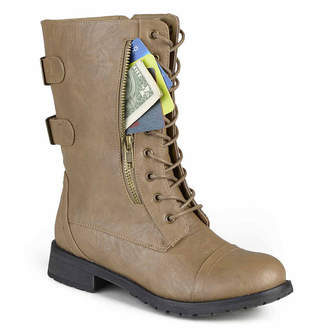 Journee Collection Womens Kendel Combat Boots Flat Heel Zip