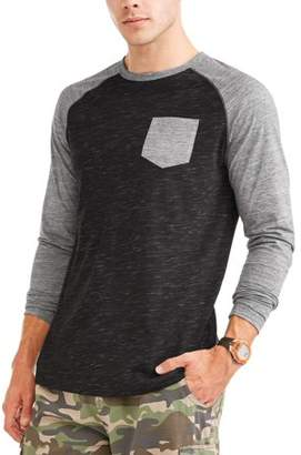George Men's Long Sleeve Raglan Crew With Pocket, Up To Size 3Xl