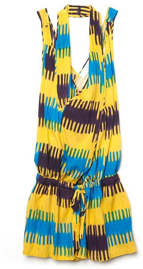 Thakoon Addition Striped Ikat Scarf Neck Romper