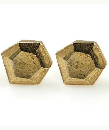 Tracy Matthews Gold Hexagon Studs