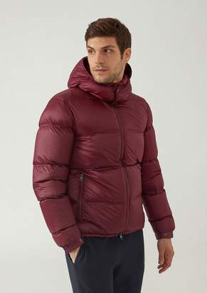 Emporio Armani Ea7 Quilted Down Jacket With Hood And Zip