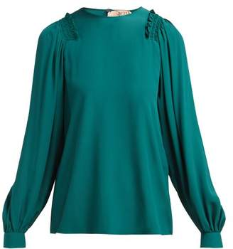 No.21 No. 21 - Ruffled Long Sleeve Blouse - Womens - Dark Green