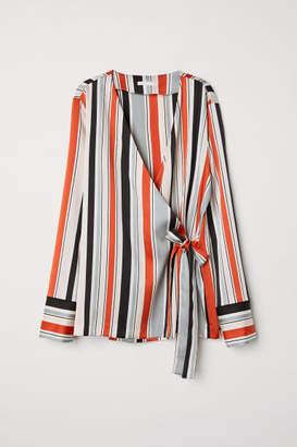 H&M Striped Wrapover Blouse - Gray