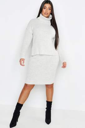 boohoo Plus Roll Neck Rib Knitted Skirt Co-Ord