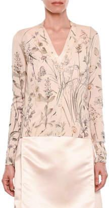 Bottega Veneta Floral-Print Button-Front Knit Cashmere Cardigan