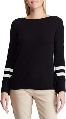 Chaps Petite Striped Bell-Sleeve Sweater