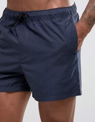Asos DESIGN swim shorts in navy short length