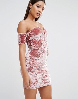 Missguided Crushed Velvet Bardot Mini Dress $60 thestylecure.com