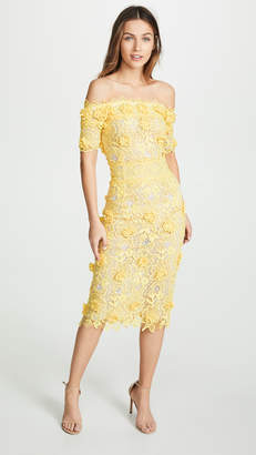 Costarellos Off the Shoulder Lasercut Lace Dress