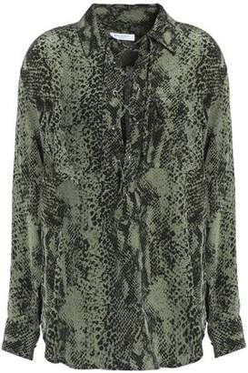 Equipment Snake-Print Lace-Up Silk Blouse