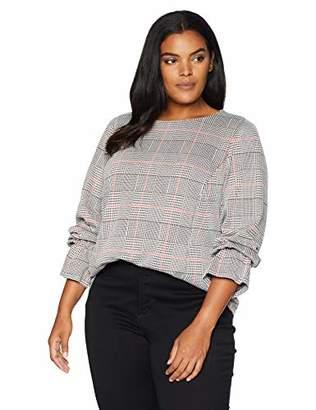 Nine West Women's Plus Size Long Sleeve Ruffle Cuff Knit Plaid TOP