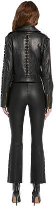 Alice + Olivia CODY LEATHER METAL BAR JACKET