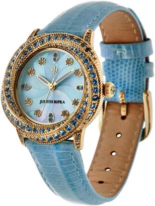 Judith Ripka Stainless Steel Diamonique Tempest Leather Watch