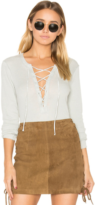 Chaser Vintage Rib Lace Front Tee $62 thestylecure.com