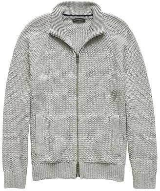 Banana Republic Textured Cotton Blend Full-Zip Sweater Jacket