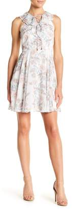 Kensie Floral Paisley Lace-Up Ruffle Dress