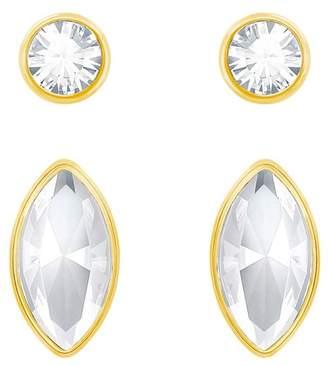Swarovski Harley Bezel Set Round & Marquise Cut Crystal Stud Earrings Set