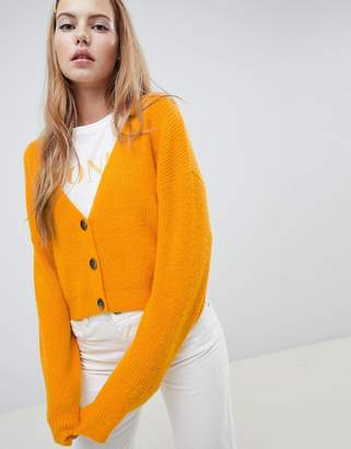 Asos Design DESIGN cardigan in fluffy yarn with buttons